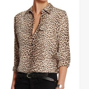 Equipment silk leopard print blouse